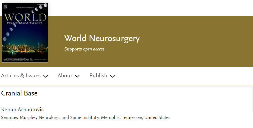 Dr Kenan Arnautovic has been appointed as a Section Editor, Cranial Base, World Neurosurgery